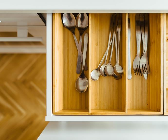 Overhead shot of cutlery drawer and cutlery
