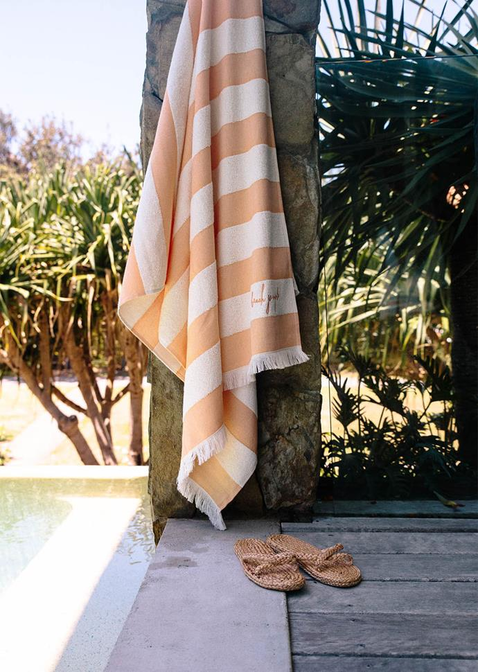 """**Pool Towels in Turkish Apricot, [The Beach People](https://thebeachpeople.com.au/collections/beach-towels/products/pool-towel target=""""_blank"""" rel=""""nofollow"""")**  Peachy perfect, the Beach People's latest striped towel in 'turkish apricot' looks almost good enough to eat. Crafted from terry towelling that makes them quick-drying and lightweight, you can also get it in 'seaside cream' or 'seagrass green'!"""