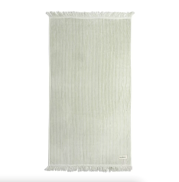 """**Business & Pleasure Co. The Beach Towel - Laurens Sage Stripe, $141, [Amara](https://www.amara.com/au/products/the-beach-towel-laurens-sage-stripe target=""""_blank"""" rel=""""nofollow"""")**  Business & Pleasure are the masters of beach accessories, and they haven't missed the mark with the Laurens Sage Stripe towel. It's vintage vibe will elevate your beach style while keeping you dry."""
