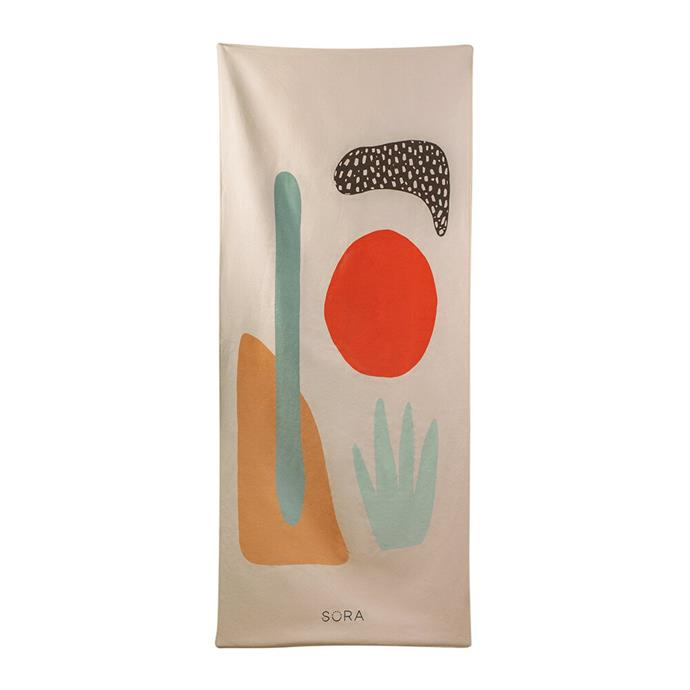 """**SORA Desert Sun Multi-Purpose Fitness Towel  in Blue and Orange $147, [Amara](https://www.amara.com/au/products/desert-sun-multi-purpose-fitness-towel-pink target=""""_blank"""" rel=""""nofollow"""")**  The beach is no place to shy away from bright colours, so take the beach by storm with this brilliant design by Sora. Inspired by Palm Springs and made from recycled fabrics, it's renewable, responsible and really cute!"""