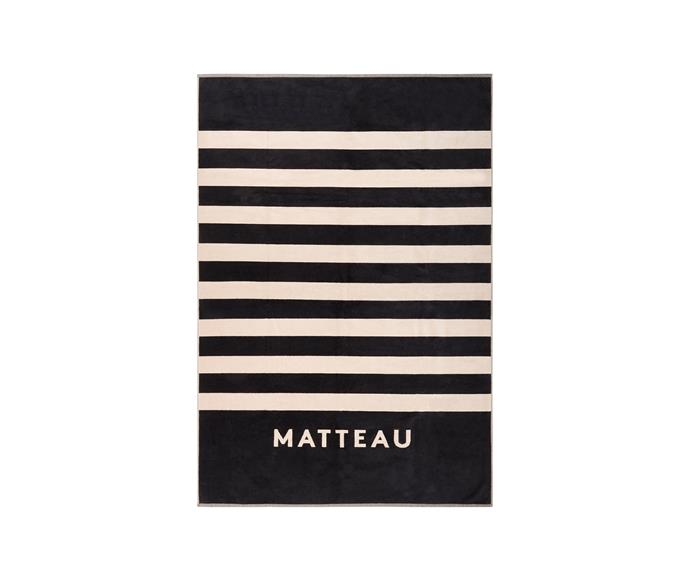 """**The Matteau Towel, $150, [Matteau](https://matteau-store.com/collections/accessories/products/the-matteau-towel target=""""_blank"""" rel=""""nofollow"""")**  Australian fashion brand Matteau have redefined the swimwear scene with their quality, minimal swimsuits, beach accessories and apparel, and their large logo beach towel ticks all the same boxes."""