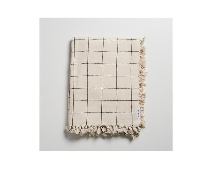 """**Playa towel, $219.95, [Solaqua](https://www.solaqua.net.au/products/playa target=""""_blank"""" rel=""""nofollow"""")**  Solaqua are the go-to brand if you're looking for the perfect turkish towel. In a range of patterns, their beach towels are all monochrome and minimal, but we particularly love the grid pattern of their oversized Playa towel."""