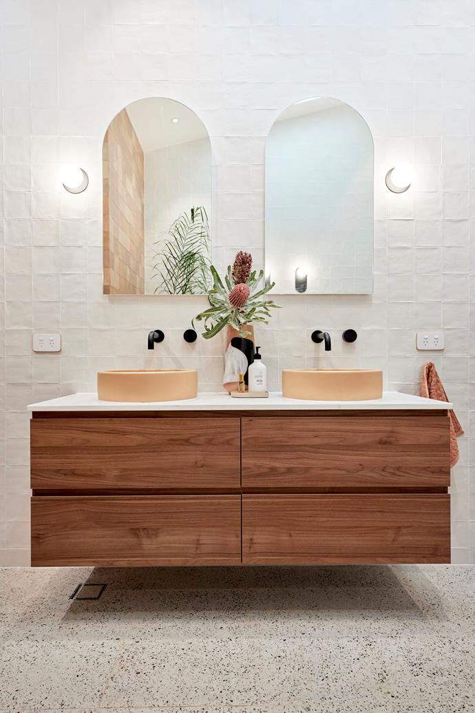 """Darren loved the dark timber vanity and the 'Pastel peach' concrete basins from [NoodCo](https://noodco.com.au/products/bowl-basin-surface-mount-pastel-peach