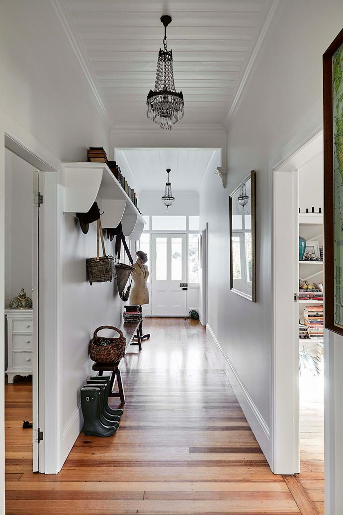 The white walls and ceiling contrast beautifully with the original Huon pine floorboards.