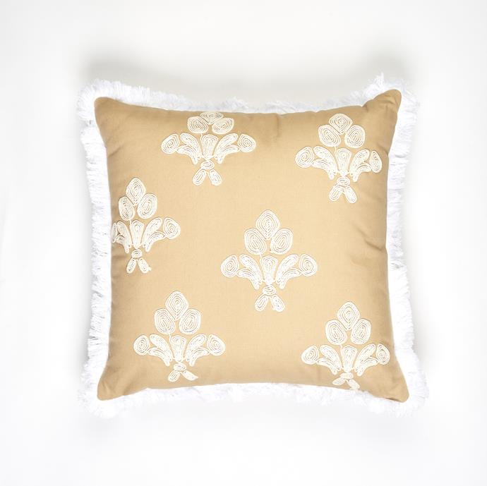 """**[Regent Cushion](https://myhouse.com.au/collections/home-beautiful/products/home-beautiful-regent-cushion target=""""_blank"""" rel=""""nofollow""""), 45cm x 45cm, $49.99**  The heavy embroidered pattern on an 'easy to style' natural base colour make the Regent cushion a royal choice."""