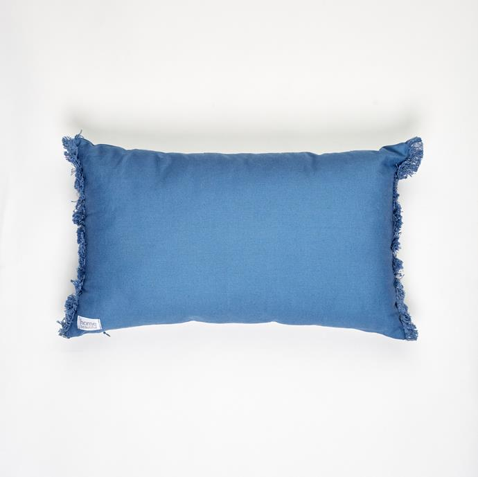 """**[Palazzo Cushion in Blue](https://myhouse.com.au/collections/home-beautiful/products/home-beautiful-palazzo-cushion?variant=39330894610504 target=""""_blank"""" rel=""""nofollow""""), 30cm x 50cm, $49.99**  The vibrant blue of the Palazzo cushion makes it the ideal bright breakfast sized cushion, bringing colour and life to any dull space. It's also available in black co-ordinate back with the rest of the Home Beautiful range."""