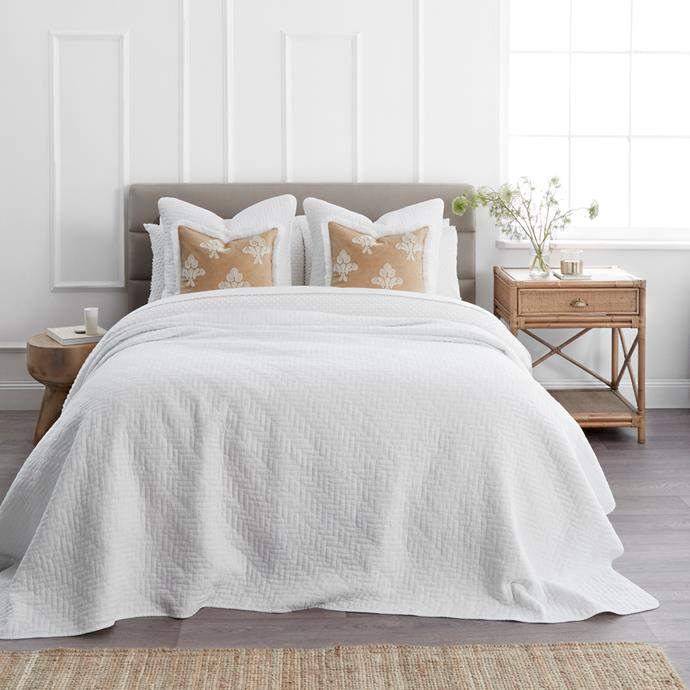 """**[Naya Coverlet in White](https://myhouse.com.au/collections/home-beautiful/products/home-beautiful-naya-coverlet-queen-king-white target=""""_blank"""" rel=""""nofollow""""), queen/king, 250cm x 240cm, $199.99**  We just love this relaxed washed cotton coverlet that is soft and luxurious, and a style chameleon in classic white. Simplicity at its finest."""