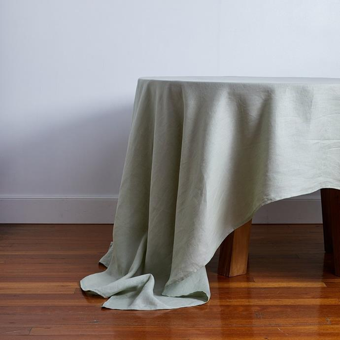 """**100% Linen Tablecloth in Sage, from $100, [Bed Threads](https://bedthreads.com.au/products/100-linen-tablecloth-in-sage?variant=34859113087110