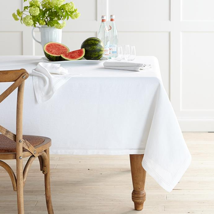 """**Linen Double Hemstitch Linens Collection Tablecloth, from $198, [Williams Sonoma](https://www.williams-sonoma.com.au/linen-double-hemstitch-linens-collection-tablecloth