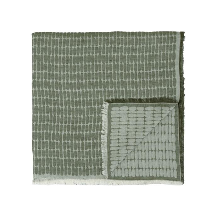 """**Alku Tablecloth, $250, [Marimekko](https://www.marimekko.com/au_en/alku-tablecloth-140x280-cm-linen-green-071278-886