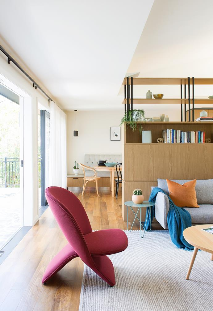 """The headline act of Susie and Hugh's stunningly renovated home on Sydney's lower north shore is the hard-working custom joinery that acts as a room divider, storage hero and design detail all at once. """"The traditional open-plan [living area](https://www.homestolove.com.au/how-to-decorate-a-large-living-area-3337