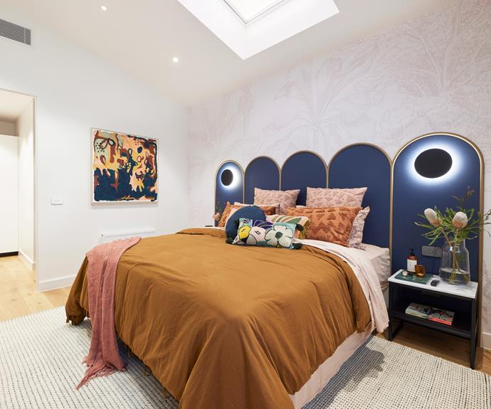 """Tanya and Vito chose a bold colour scheme of smokey blue and tobacco. Bedlinen from [Aura](https://www.aurahome.com.au/maison-vintage-quilt-cover-tobacco