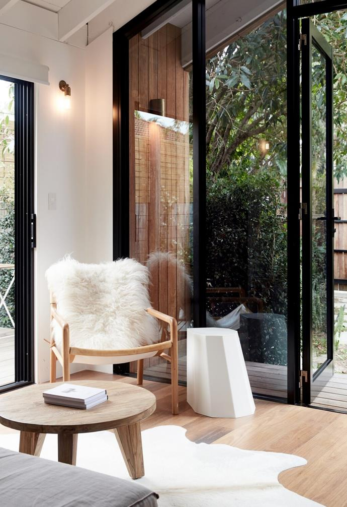 """""""Friday Hut has a slightly alpine aesthetic: heavy wooden doors, high ceilings and an outdoor copper bathtub,"""" said Chelsea."""