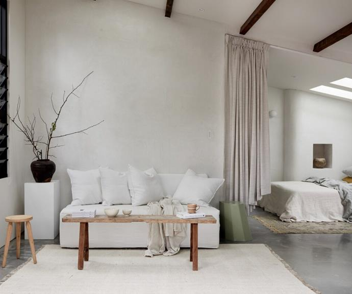 A neutral palette is paired with natural textiles in St Helena to evoke a European aesthetic.