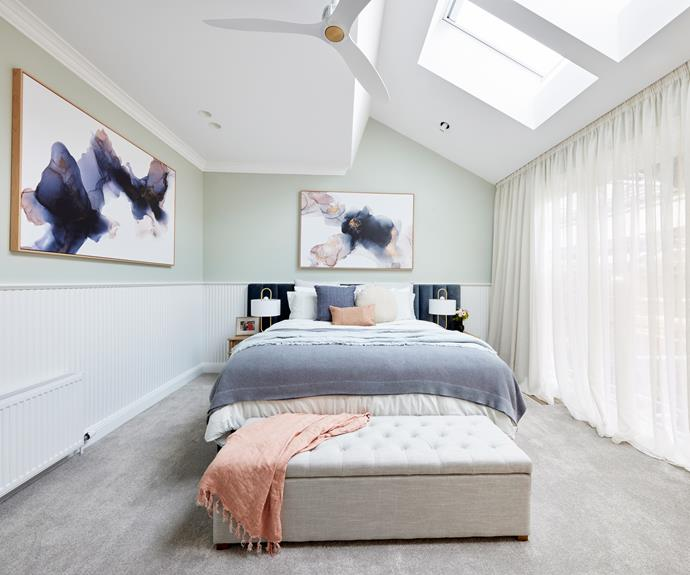 """Darren loved amount of light created by the lovely big opening to the garden and the skylights, providing great access to northern light. Bedlinen from [L&M Home.](https://www.lmhome.com.au/