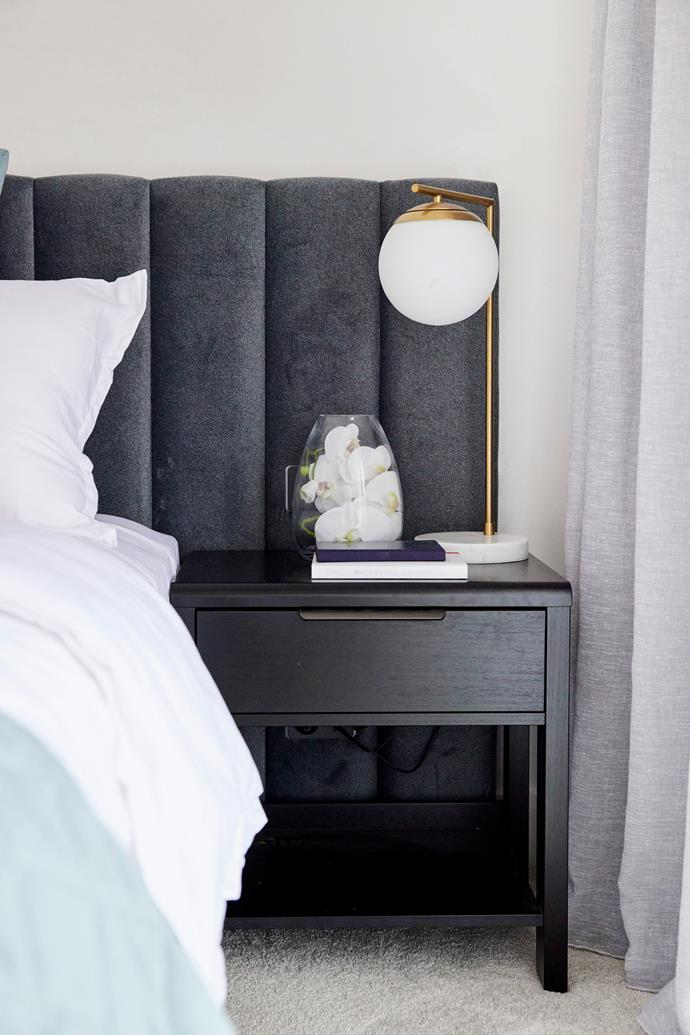 """Rich tones and sophisticated textures were a step up from last week in Luke and Josh's master bedroom. Bedside table from [Forty Winks.](https://www.fortywinks.com.au/
