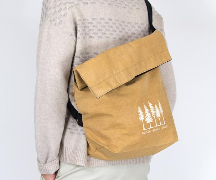 """**Apple Green Duck canvas sling tote bag, $49.95, [Banish](https://banish.com.au/collections/reusable-bags-1/products/canvas-sling-tote-bag