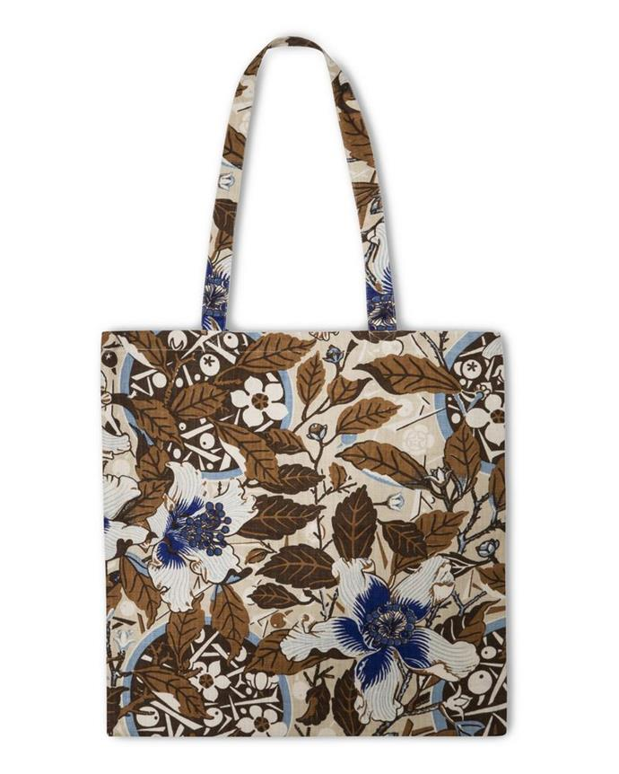 """**Native Hibiscus Tote Bag in Coffee, $99, [Utopia Goods](https://utopiagoods.com/collections/bags/products/native-hibiscus-coffee-heavyweight-linen-tote-bag
