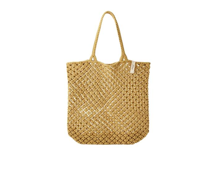 """**Macrame bag in Mustard, $85, [The Beach People](https://thebeachpeople.com.au/collections/beach-bags/products/macrame-tote-bag