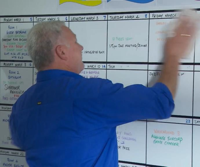 The production schedule was laid out on a whiteboard in Scott Cam's office. It is alleged that someone snapped a picture of the whiteboard and passed it onto the contestants.