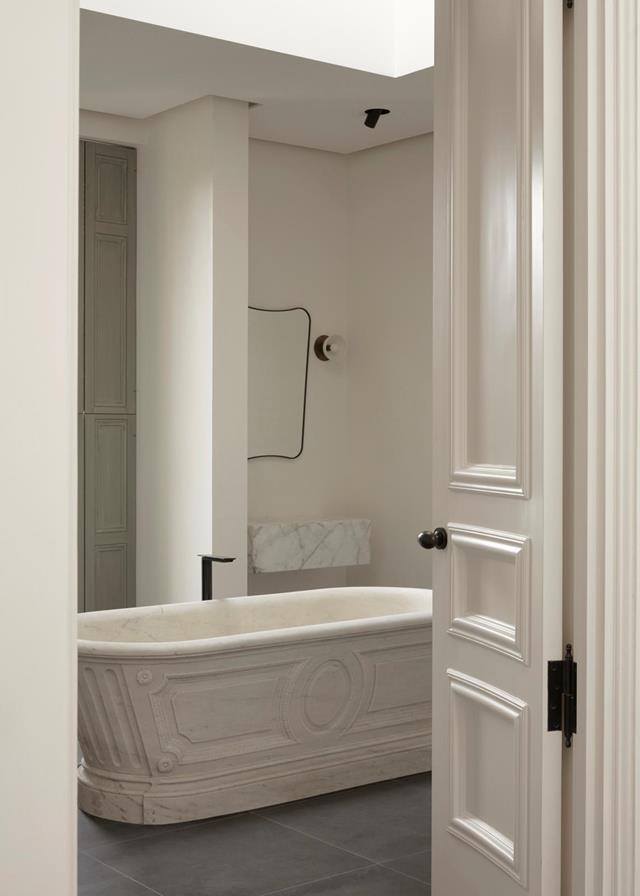"""In this [chateau-style home's](https://www.homestolove.com.au/chateau-style-home-with-minimalist-interior-21812/