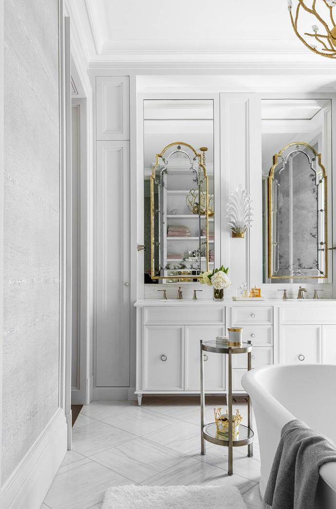 """""""Our client's brief for her bathroom was to create a space of serenity – simple, elegant and opulent,"""" says Thomas Hamel, who worked on the project with his colleagues Carla Barton and Brendan Guy. """"We focused on clean lines, luxurious textures and introduced details of antique brass to offset the fresh aesthetic."""""""