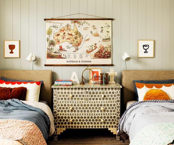 """A chest of drawers from [Ruby Star Traders](https://www.rubystar.com/ target=""""_blank"""" rel=""""nofollow"""") keeps the floor clutter-free. Linen, [In Bed](https://inbedstore.com/ target=""""_blank"""" rel=""""nofollow""""). Gingham sheets, cushions and prints, [Castle And Things](https://www.castleandthings.com.au/ target=""""_blank"""" rel=""""nofollow""""). Map, [Erstwhile](https://erstwhile.co/ target=""""_blank"""" rel=""""nofollow""""). Rug, [Coco Republic](https://www.cocorepublic.com.au/homewares/rugs/indoor-rugs.html target=""""_blank"""" rel=""""nofollow"""")."""