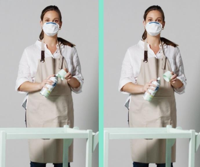 Shield your face and clothing with a protective mask and apron.