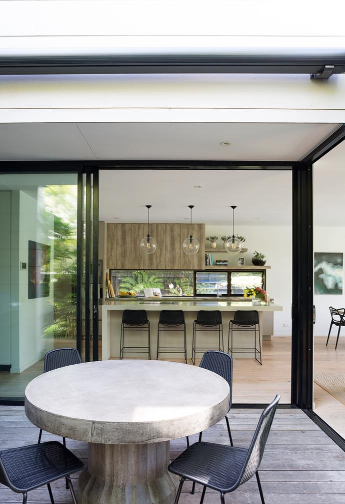 """""""Bruce loves to cook and wanted a centrally located kitchen that linked to both outdoor areas,"""" explains Pippa."""