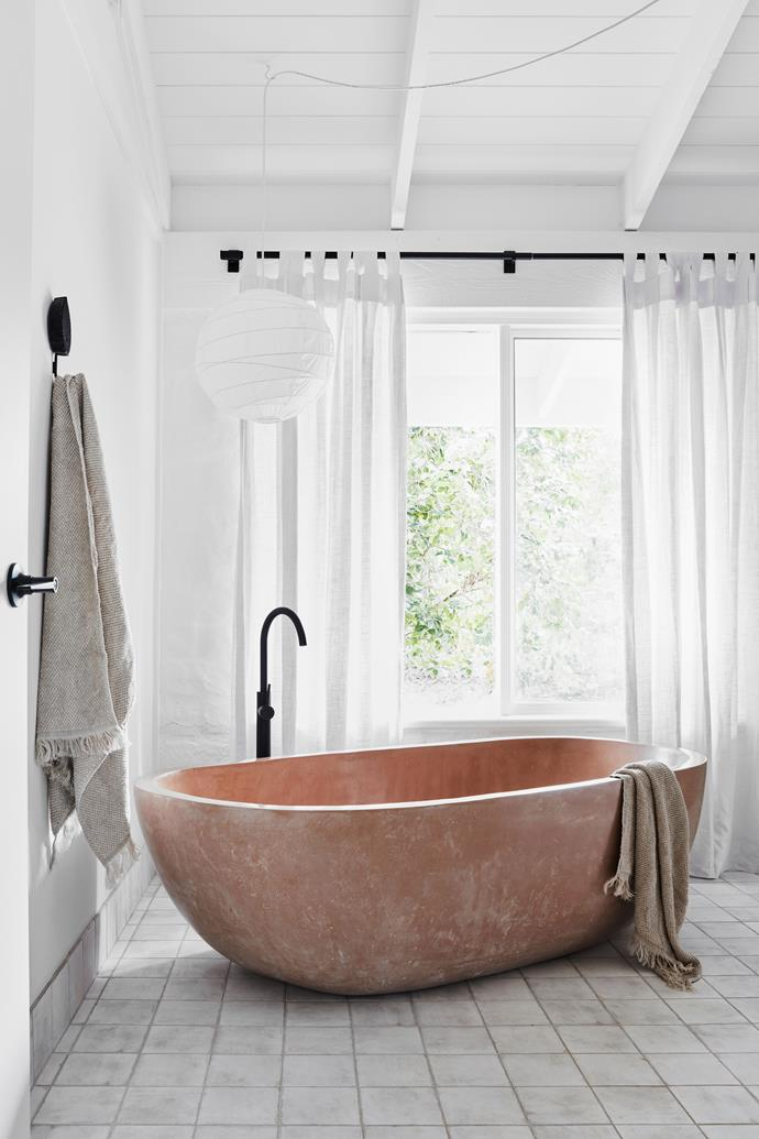 """The deep bath, basins and even curtains were made in Indonesia. Tapware from [Streamline Australia](https://www.streamlineproducts.com.au/