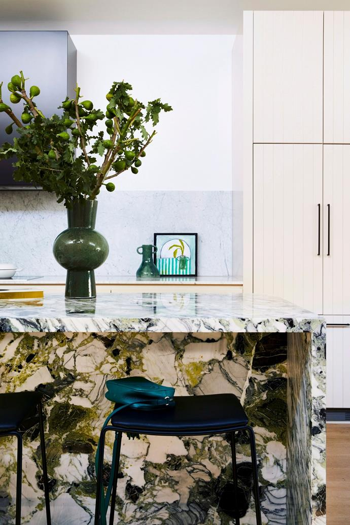 This kitchen features a stunning island bench topped with 'Ice Green' marble from Signorino. While natural stone and marble will always look elegant, they may not be suitable for a young family or those looking for a low-maintenance kitchen.