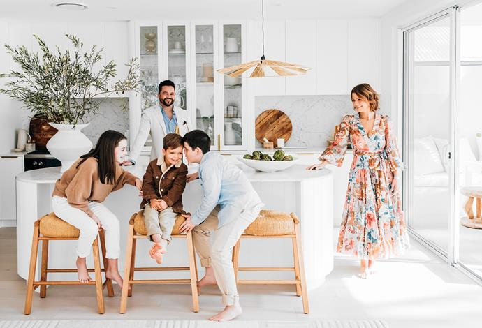 Drewe and Candice with their children (from left) Mia, Hunter and Joe in their dreamy kitchen. Barstools, Satara.