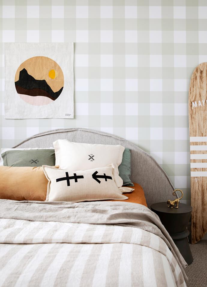Above left Linen half-moon bedhead, Create Estate. Bed base and mattress, Freedom. Bedlinen, I Love Linen. Cushions and wall banner, Pony Rider. Surfboard, Maywood. Gingham wallpaper, Olive et Oriel.