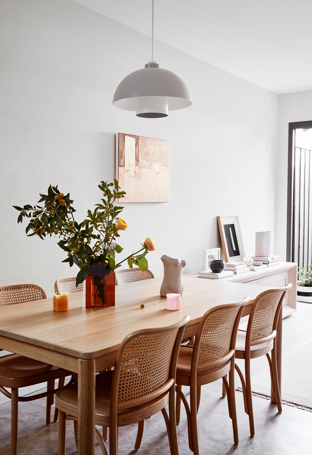 """""""I love the softness of the clay-rendered walls against the natural light and dark tones of the furniture in the living and dining area,"""" says Cushla McFadden of her [terrace home](https://www.homestolove.com.au/minimal-victorian-terrace-sydney-21869