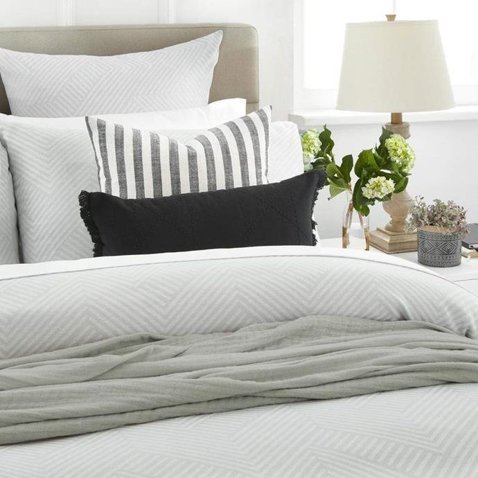 """**[Sloane Quilt Set, Queen](https://myhouse.com.au/collections/home-beautiful/products/home-beautiful-sloane-quilt-cover-set target=""""_blank"""" rel=""""nofollow""""), $129.99**  Set the tone for calm in your bedroom with our sumptuously soft and classic Sloane quilt set. In a nurturing grey palette, the Sloane quilt cover set is enough of a statement all on its own, but also a great platform to layer on more texture, pattern and colour."""