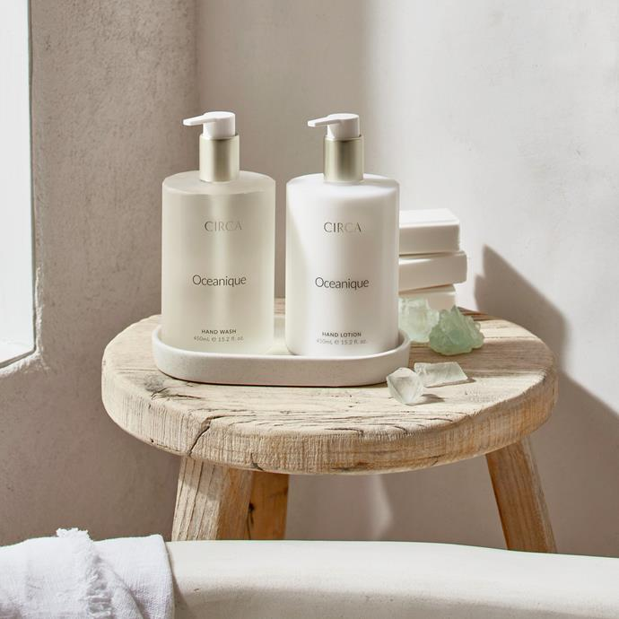 """**Oceanique Hand Care Duo Set 900mL, $59.95, [Circa](https://circa.com.au/collections/hand-wash/products/oceanique-hand-care-duo-set-900ml