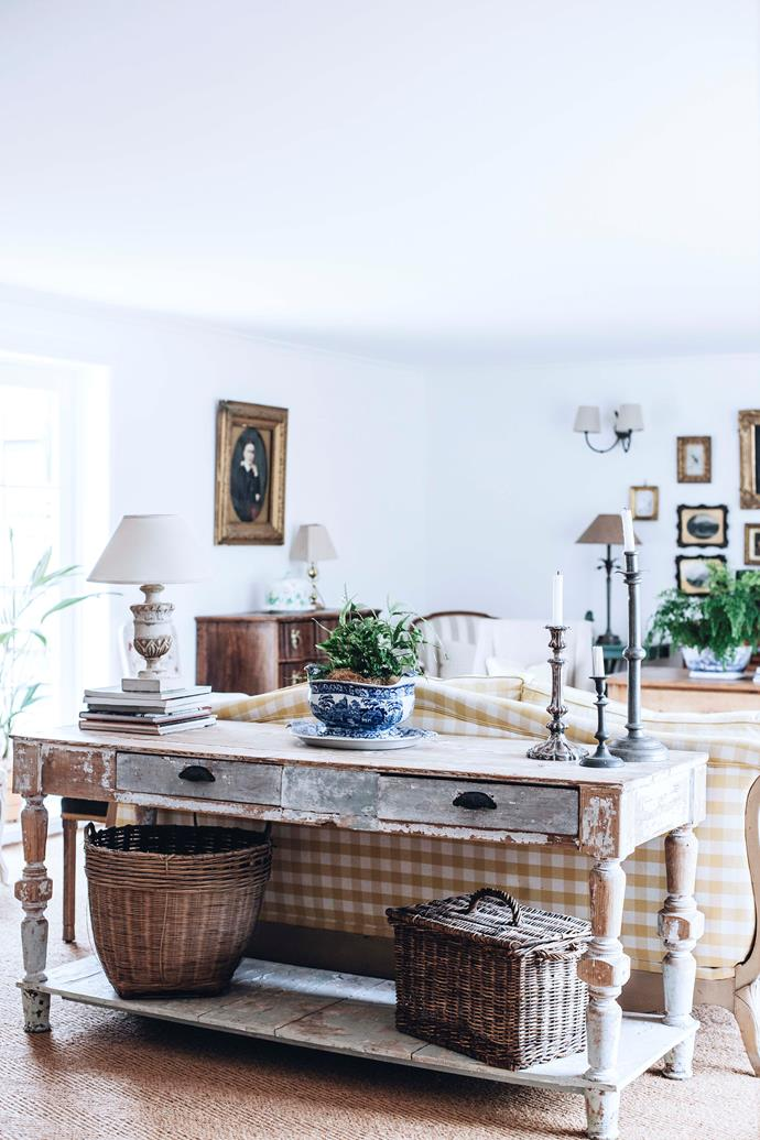 """The French antique table """"has had a lot of love and wear and tear,"""" says Athol. """"And it just fits there nicely."""""""