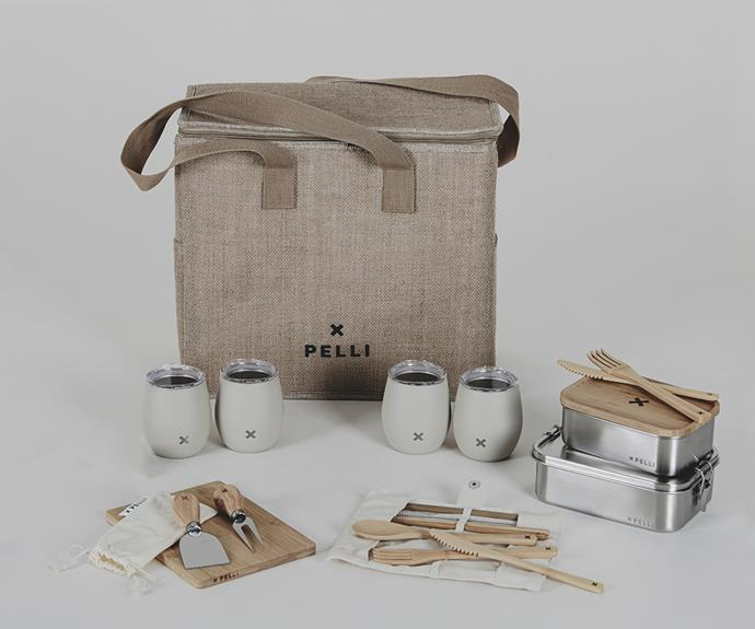 """**'Weekend Chill' large picnic set, $199.95, [Pelli Bags](https://pellibags.com.au/products/large-picnic-bundle?variant=39338469818443