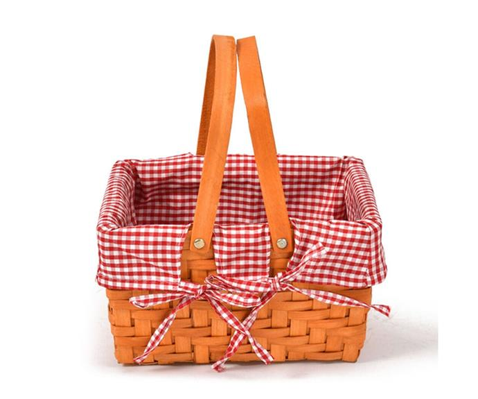 """Deluxe wicker hamper, $60, [Picnic Baskets Australia](https://www.picnicbasketsaustralia.com.au/product/picnic-basket-wicker-hamper-deluxe-style-2/