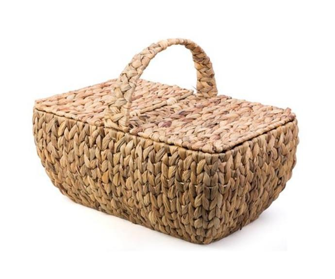 """**Water hyacinth picnic basket, $45, [Peter's of Kensington](https://www.petersofkensington.com.au/Public/ATrends-Water-Hyacinth-Picnic-Basket.aspx