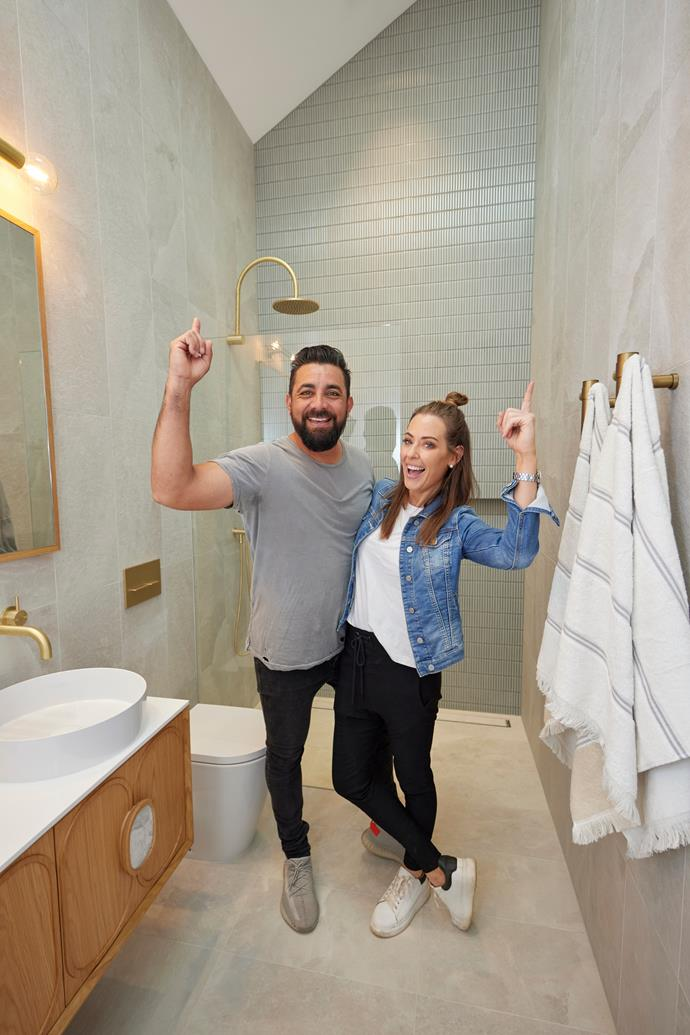 Winners are grinners. Ronnie and Georgia scored a perfect 10 from Neale for their stunning master ensuite.