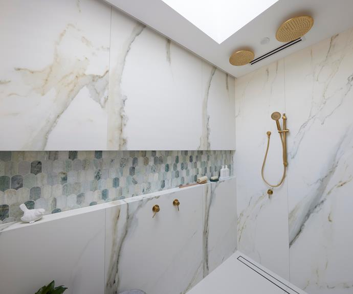 """Neale said, """"It's not a bathroom that makes you feel good to be in."""" [Shower](https://www.reece.com.au/product/mizu-drift-overhead-shower-brass-300mm-brushed-9508793
