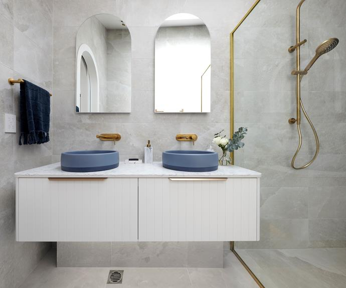 """Judges praised the use of large format tiles on walls and floor in Kirsty and Jesse's master ensuite. [Basins](https://noodco.com.au/shop/bowl-basin-two-tone/