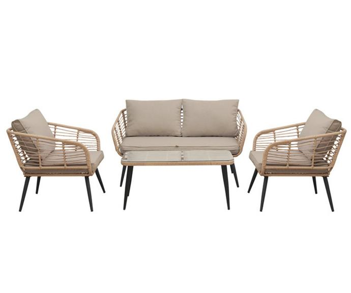 """**Bequia 4 Seater Rope Wicker Outdoor Set, $849, [Luxo Living](https://www.luxoliving.com.au/bequia-4-seater-rope-wicker-outdoor-sofa