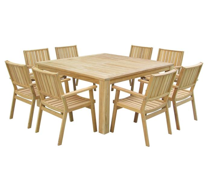 """**Biyya 9-Piece Outdoor Dining Set, Square, $2374, [Zanui](https://www.zanui.com.au/Biyya-9-Piece-Outdoor-Dining-Set-Square-151842.html