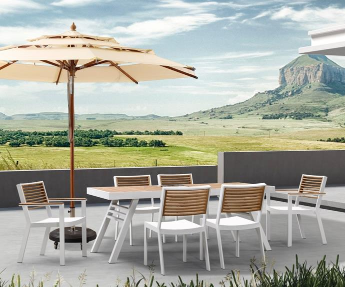 """**St Lucia 7pc Outdoor Dining Set, $3621, [Interior Secrets](https://www.interiorsecrets.com.au/products/st-lucia-7pc-outdoor-dining-set