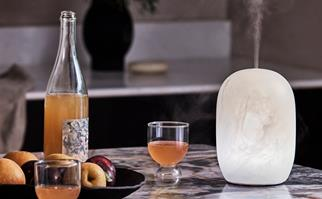 White resin diffuser on a kitchen bench next to cocktails