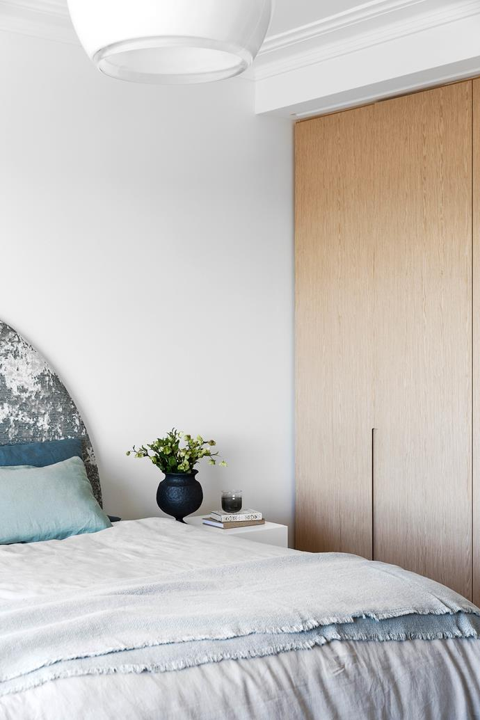"""**BEDROOM** The serene scheme continues in here. Bed linen, [Cultiver](https://cultiver.com.au/