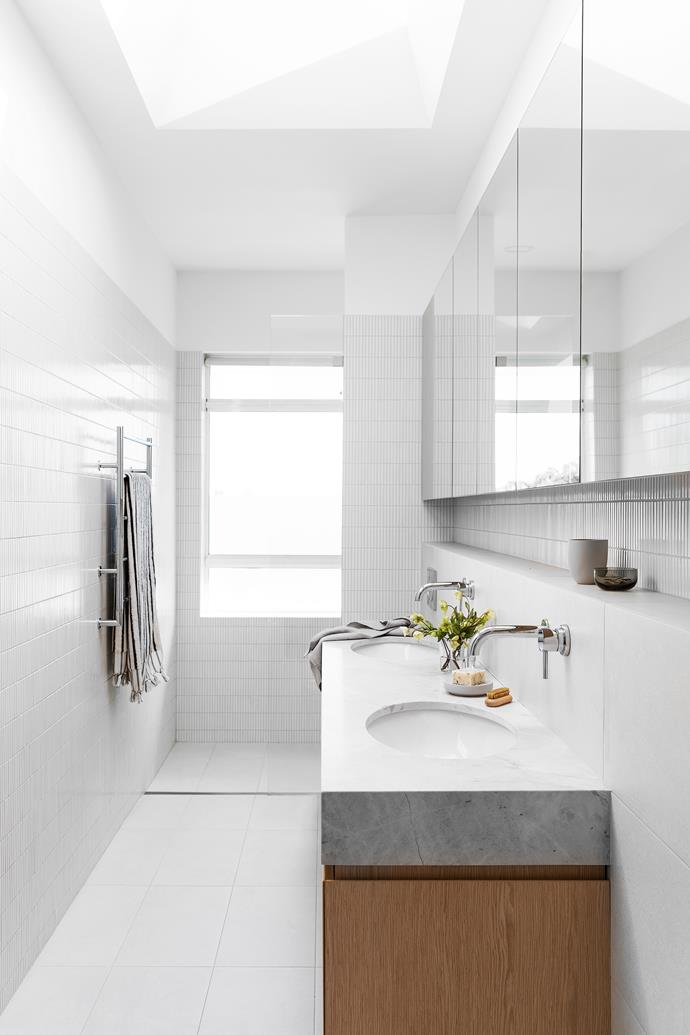 """**BATHROOMS** The benchtops and flooring are Elba marble and all the tapware is from [Astra Walker](https://www.astrawalker.com.au/