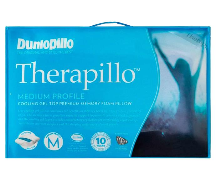 """**[Therapillo Cooling Gel Top Premium Memory Foam Medium Profile Pillow, $199.99, David Jones](https://www.davidjones.com//20402669/Therapillo-Cooling-Gel-Medium-Profile-Memory-Foam-Pillow.html